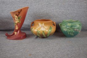 Roseville Lot Of 3 Items - Apple Blossom Cornucopia