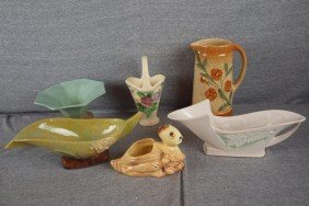 19: Lot of 6 pottery items - Roseville, Weller and Rumr