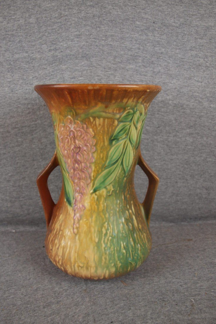 "20: Roseville Wisteria large vase, 10 1/2"", rim repair"