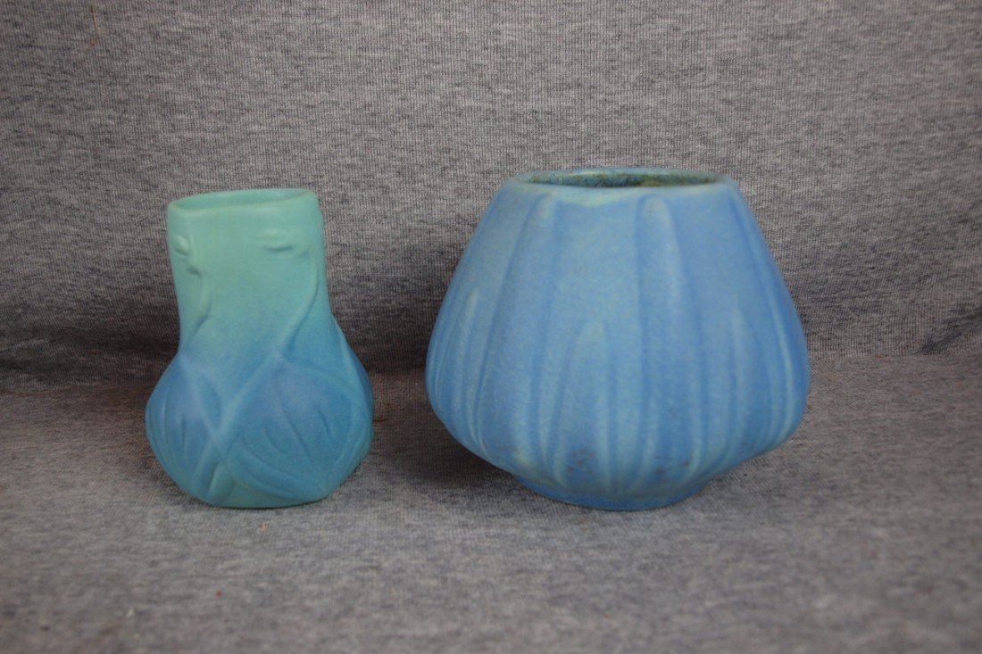 23: Van Briggle lot of 2 blue vases, 4 1/2""