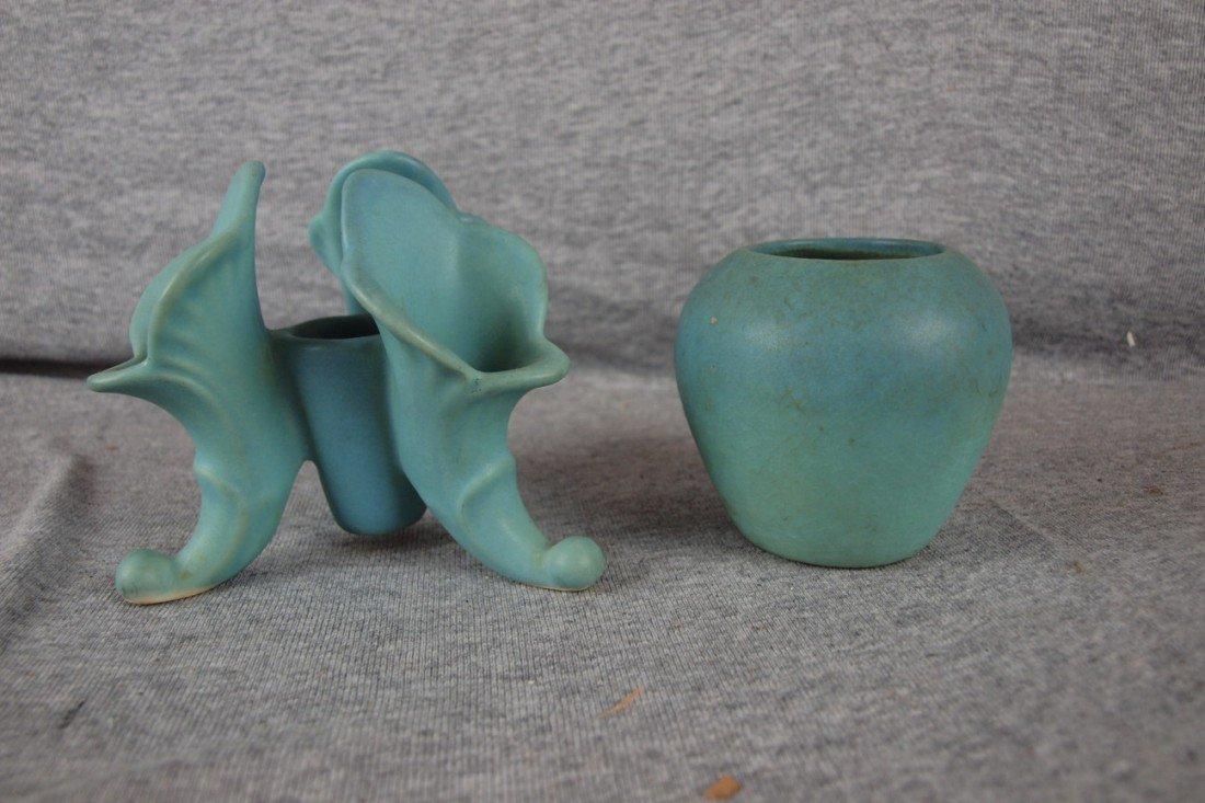 28: Van Briggle triple cornucopis vase and small blue v