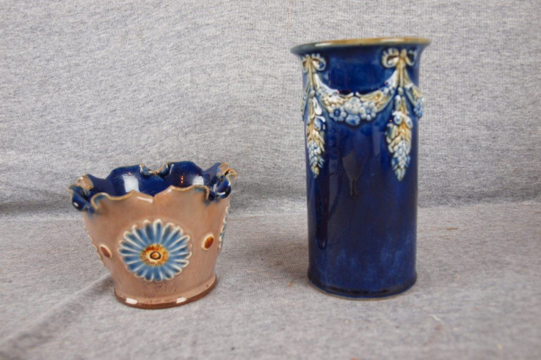 """35: Royal Doulton Lambeth lot of 2 vases, 3"""" and 6"""""""