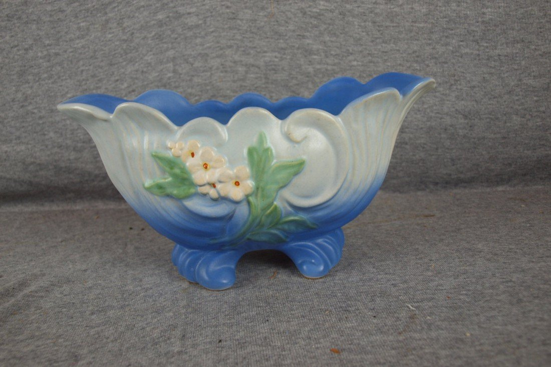 """38: Weller blue floral console bowl, 10"""""""