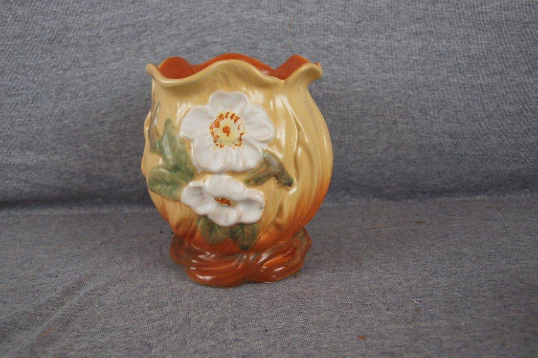 """39: Weller brown floral vase, 6 1/2"""""""