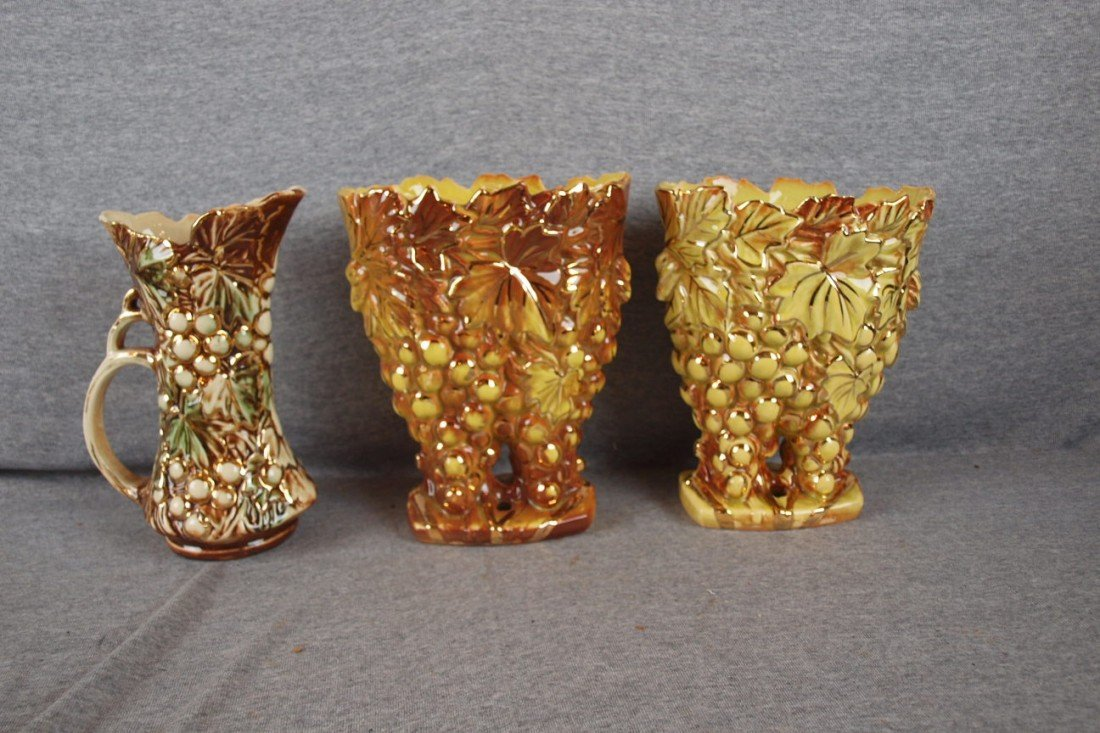43: McCoy lot of 2 grape vases and cherry ewer