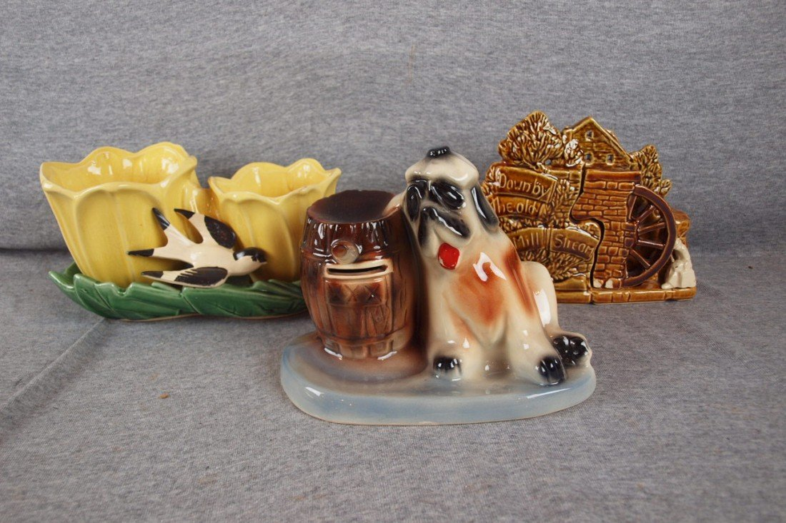 44: McCoy lot of 3 planters - bird, Mill Stream and dog