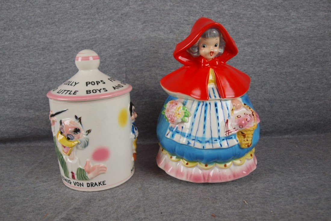 55: Disney Lolipop cookie jar, 1961 AND Napco Little Re