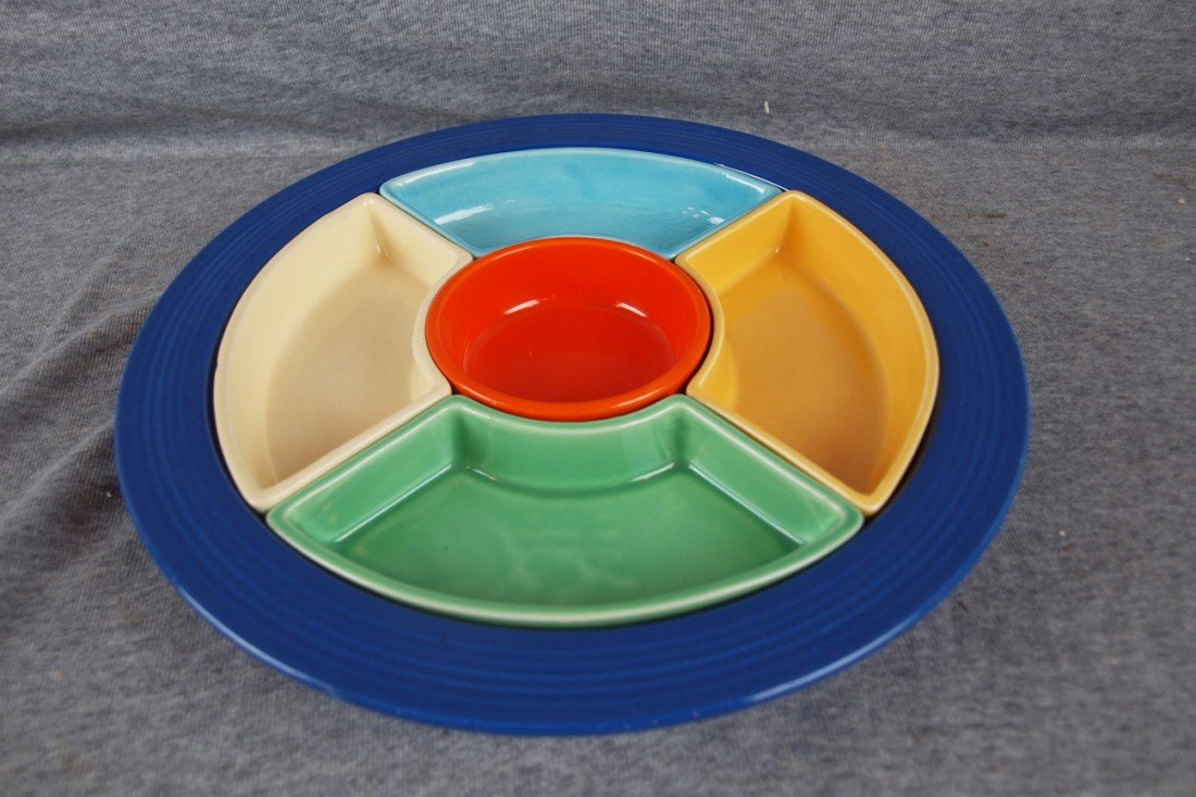 60: Fiesta relish tray, complete with cobalt tray, red