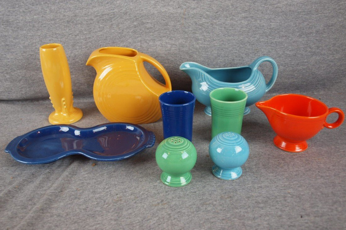 61: Fiesta Lot - yellow bud vase and juice pitcher, tuq