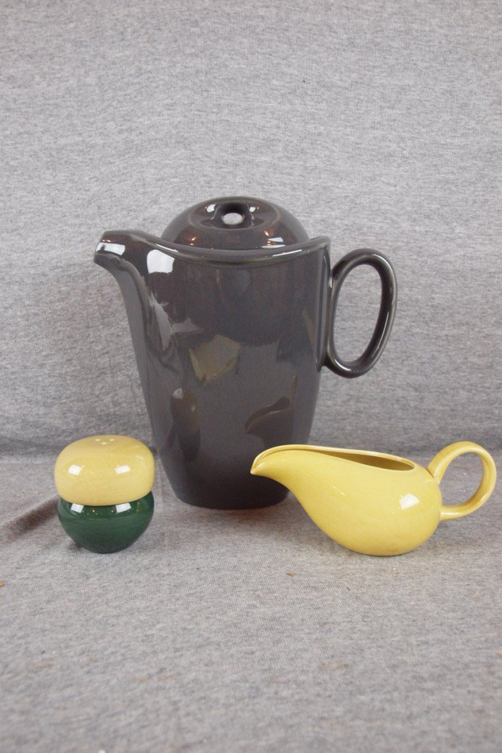 63: Homer Laughlin grey Epicure coffee pot AND Russel W