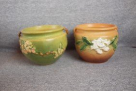 Roseville Lot Of 2 Jardinieres - Green Apple Blosso