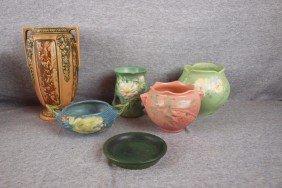 Roseville Lot Of 5 Items And Weller Flower Pot, Bas