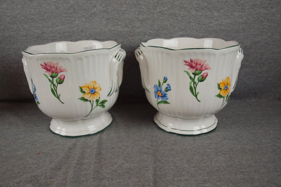 "103: Tiffany & Co pair of floral cachepots, 7""h, base c"
