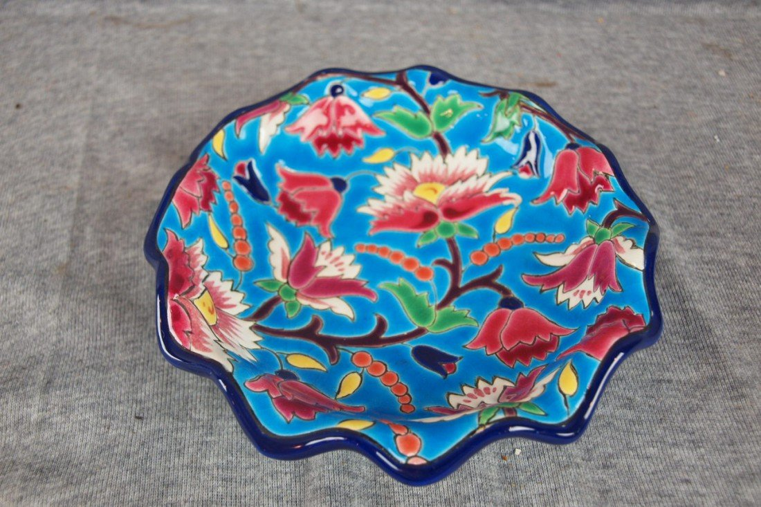 105: Longwy French pottery floral bowl, 6 1/2""
