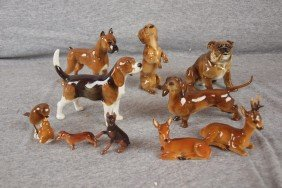 142: Lot of 10 Hutschenreuther animals - 7 dogs, stag,