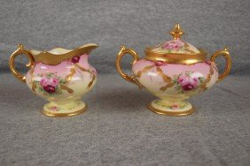 Pickard Cream And Sugar With Floral Motif, Signed