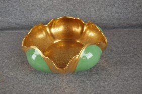 Pickard China Gold And Green Bowl, 9 1/2""