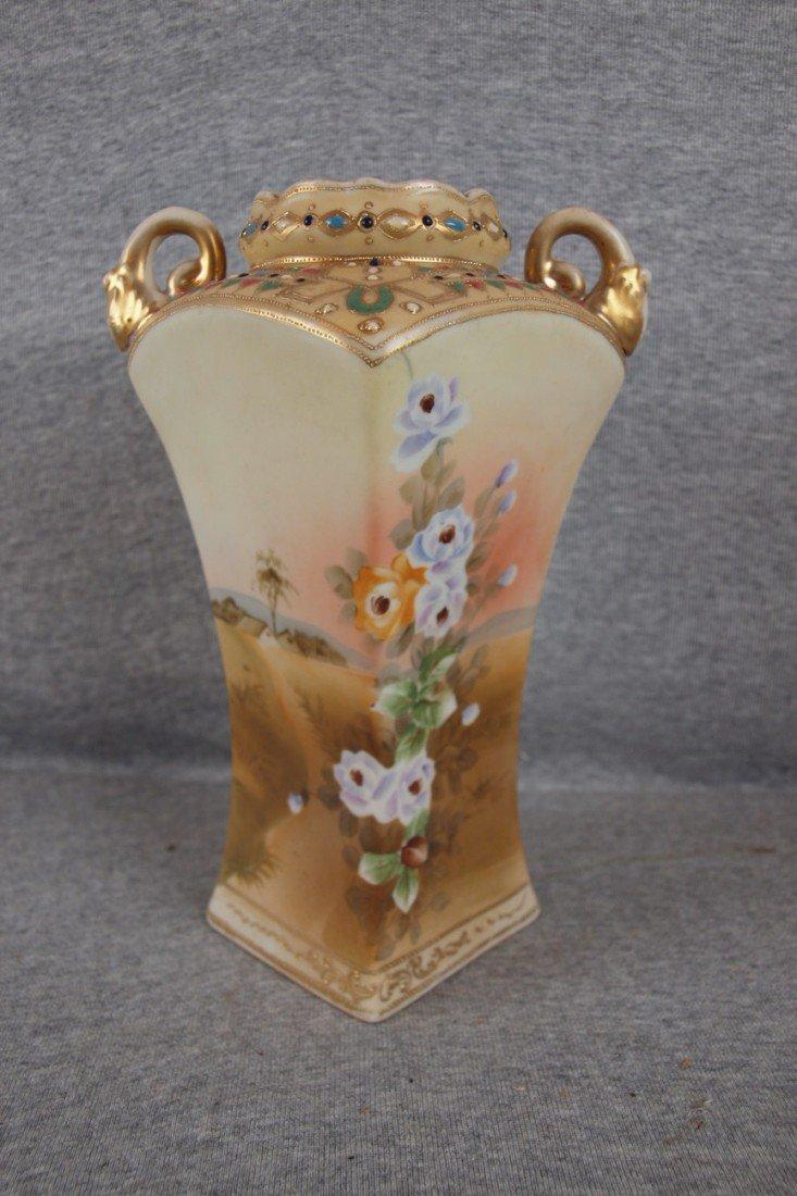 217: Nippon two handled floral and landscape vase, 9 1/