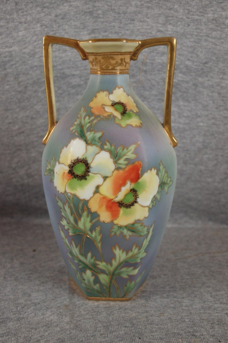 218: Nippon two handled floral vase with poppies, 8 1/2