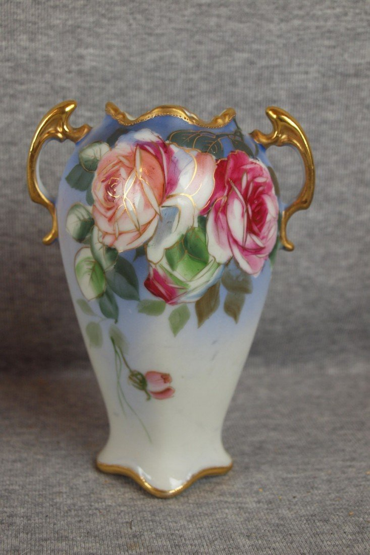 """221: Nippon two handle vase with roses, 6"""""""