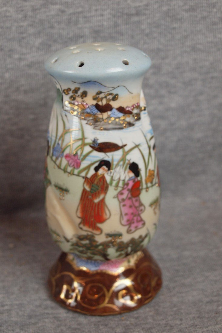 222: Nippon hat pin holder with Oriental figures, 6 1/4