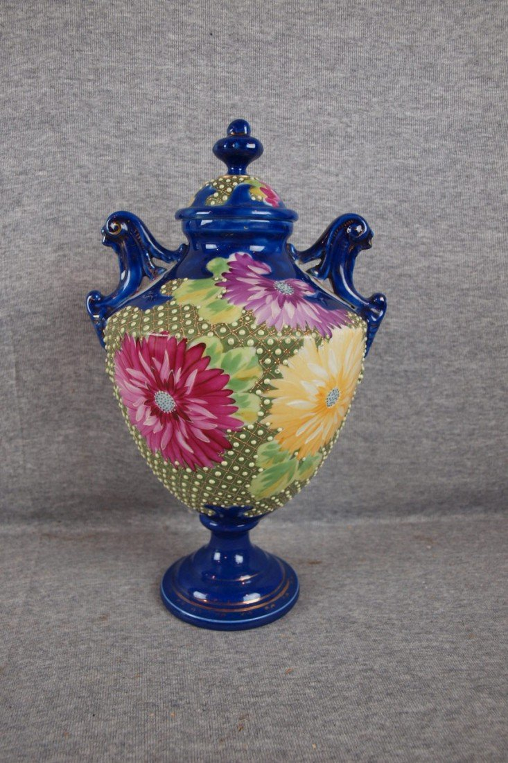 """225: Nippon style covered urn with floral motif, 12"""""""