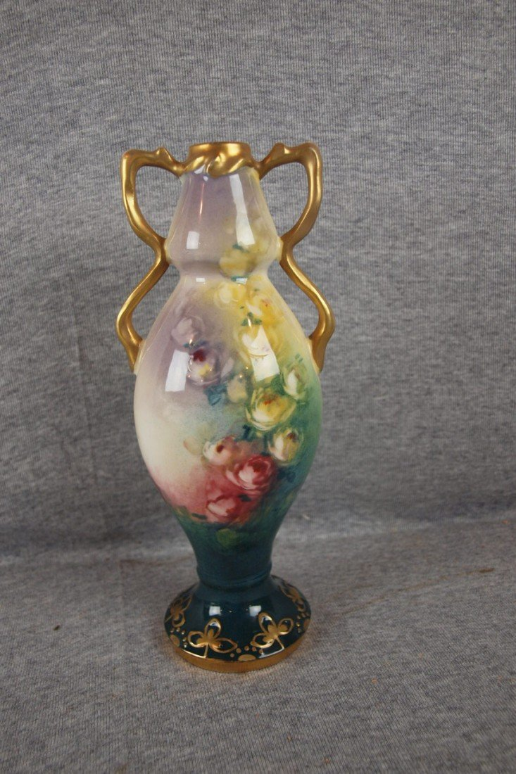 """226: Austrian hand painted vase with flowers, 9"""""""