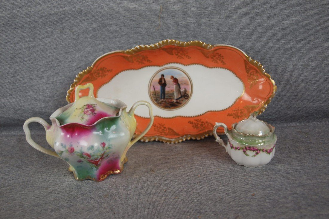 227: Hand painted china lot = celery tray, sugar, RS Ge