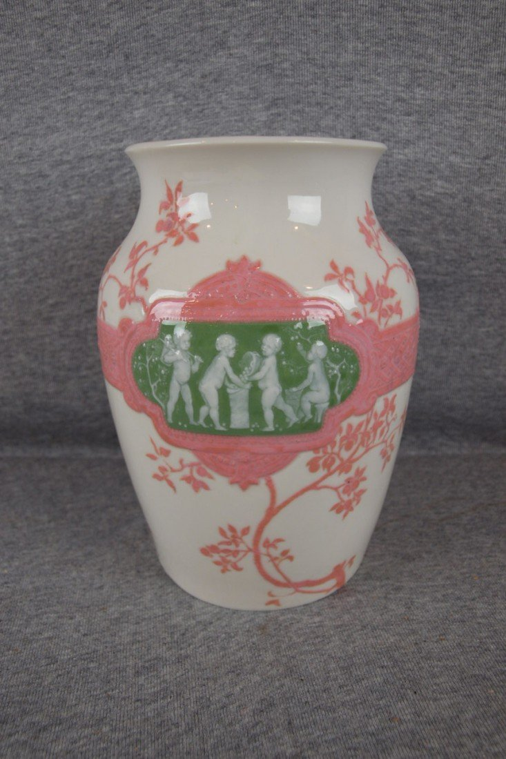 228: Sevres porcelain vase dated 1902 with panels of ch