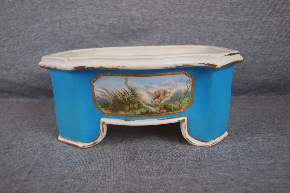 229: French porcelain dog water dish with hand painted