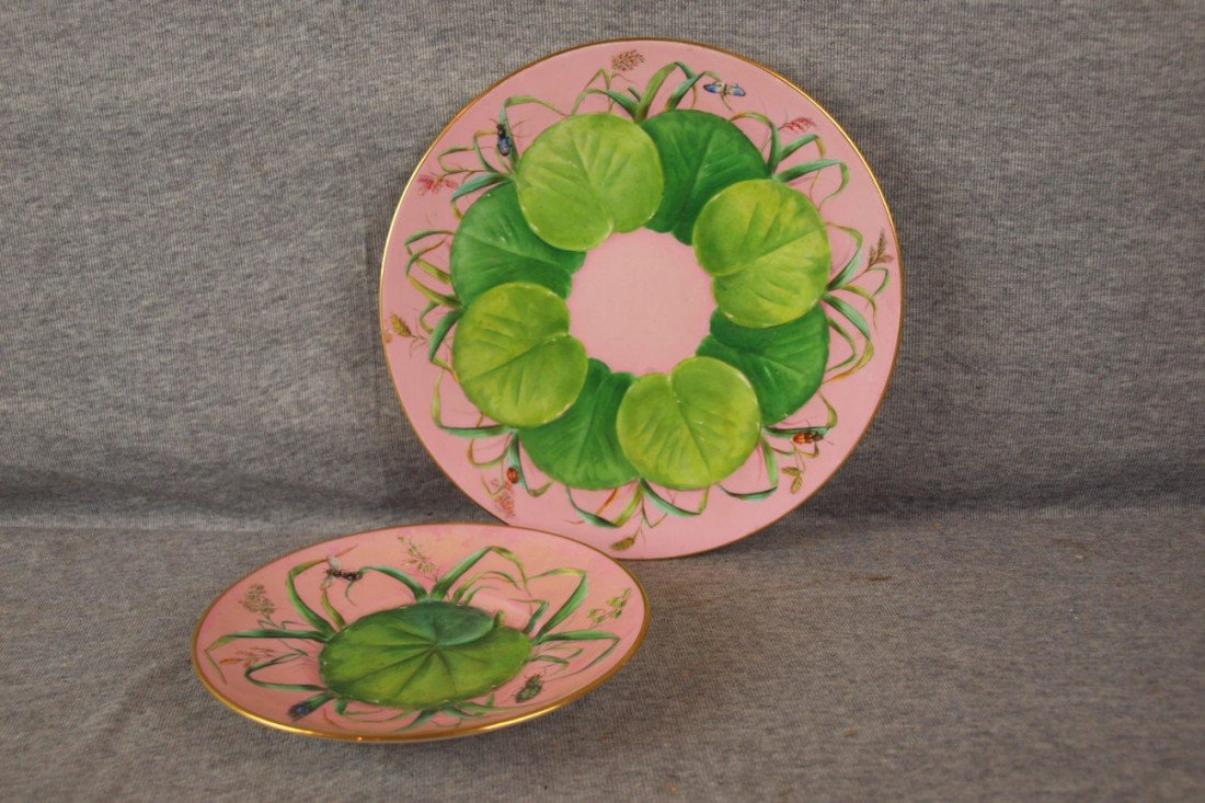 """230: Minton porcelain pond lily plate 9"""" and saucer 6 1"""