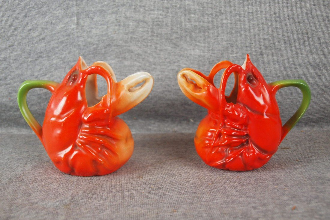 """234: Royal Bayreuth lot of 2 lobster creamers, 4"""""""