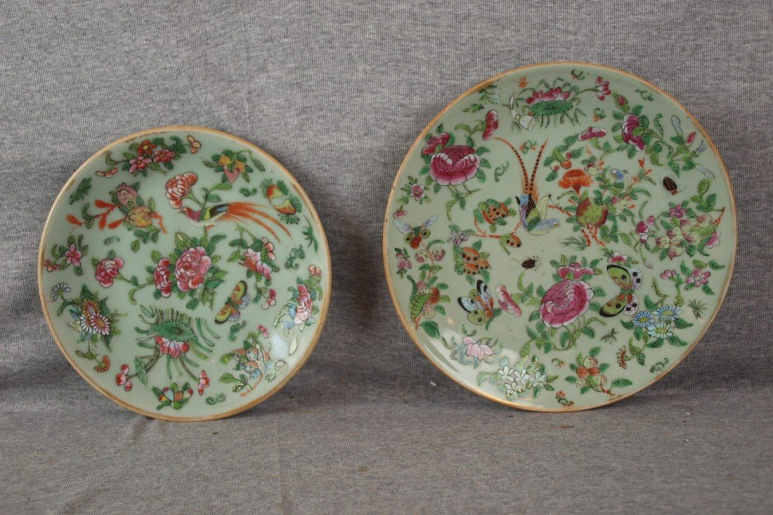 "274: Two Celedon Oriental plates, 8 1/2"" and 10"""