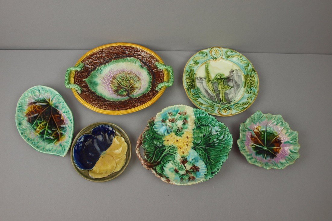 2:  Majolica lot of 6 trays and plates, various conditi