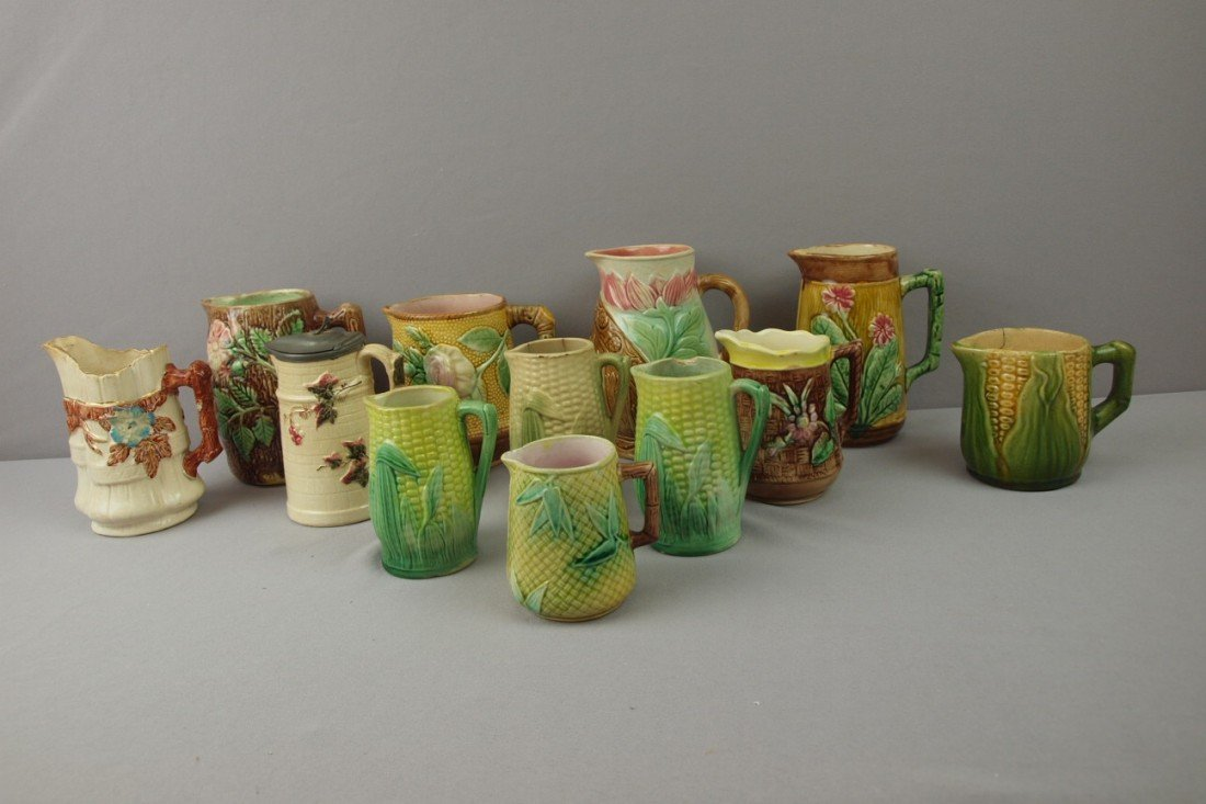 14:  Majolica lot of 12 pitchers and creamers, various