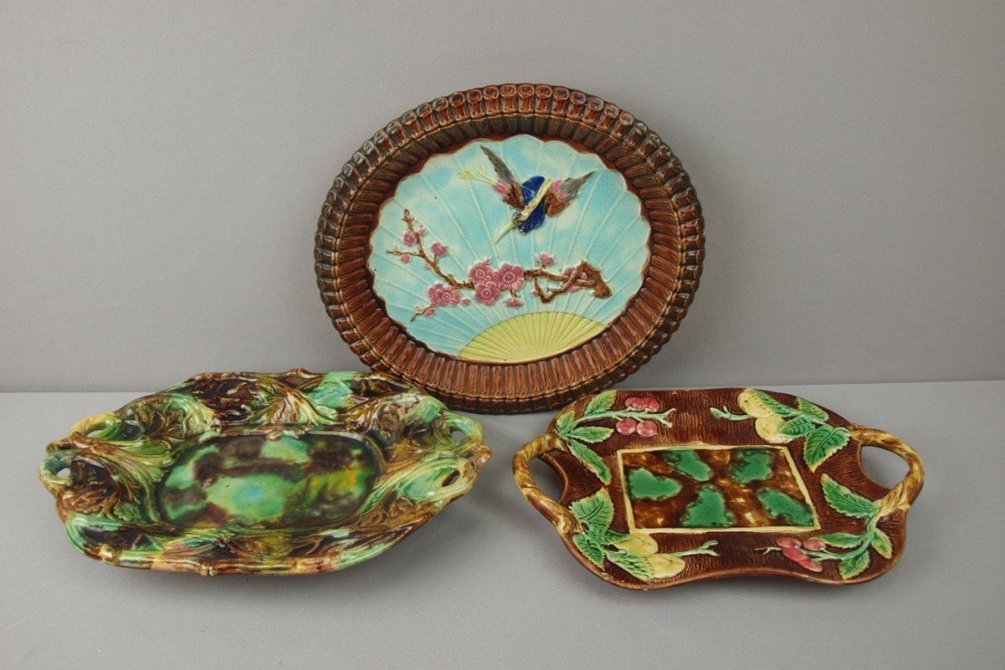 15:  Majolica lot of 3 platters, various condition
