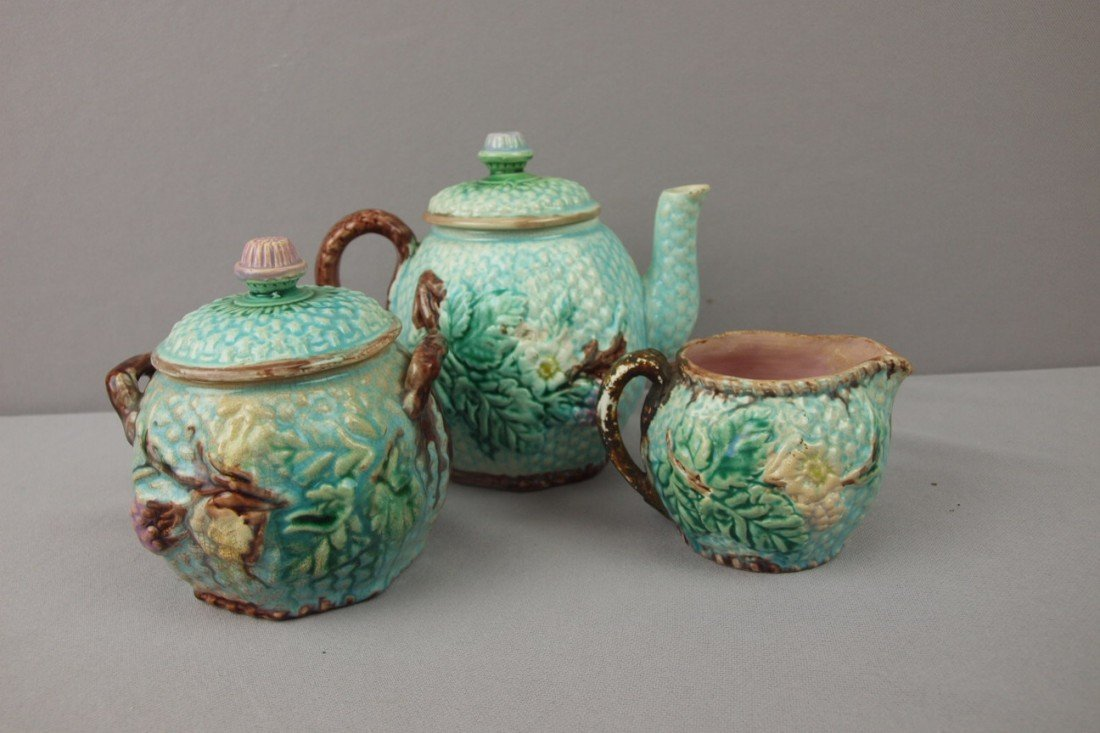 23:  Basketweave and floral 3 piece teaset, various con