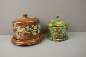 Majolica Cheese Dish And Mottled Covered Jar With