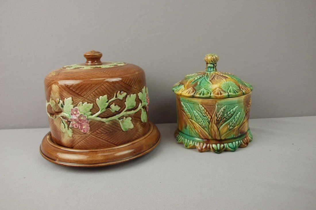 24:  Majolica cheese dish and mottled covered jar with
