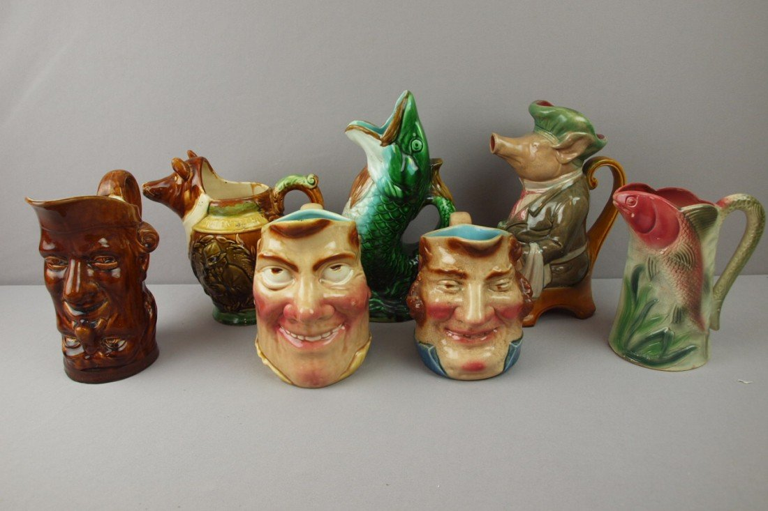 27:  Majolica lot of 7 figural French pitcher, various