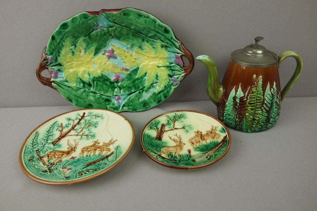 39:  Majolica lot of 4 items - pewter topped teapot, 2