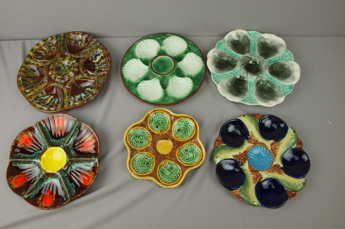 42:  Lot of 6 majolica style oyster plates, some contem