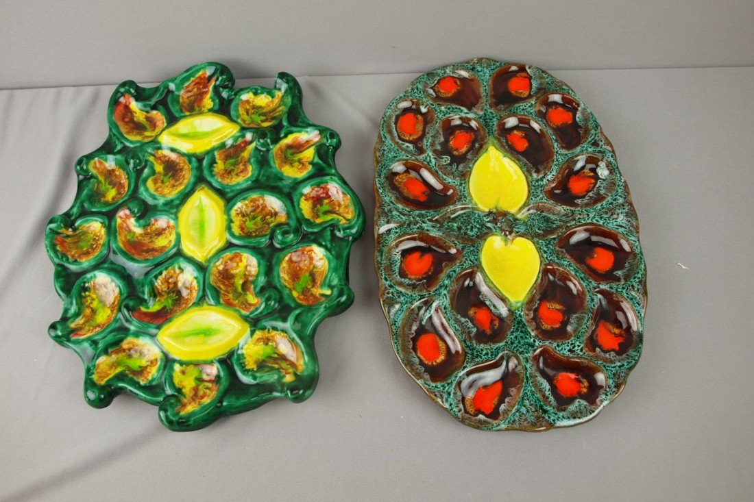 43:  Lot of 2 French contemporary oyster serving platte