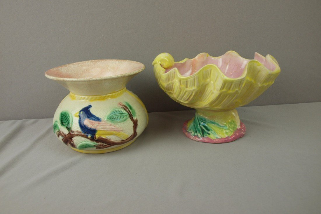 44:  Bird and floral spittoon and shell form comport, b