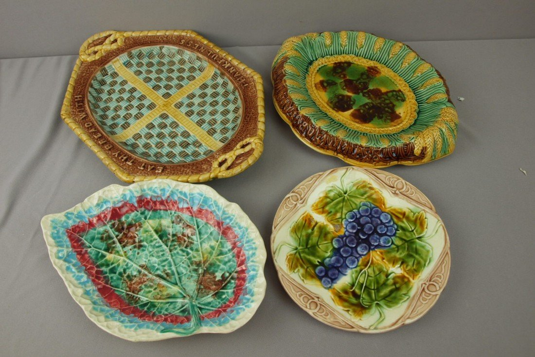 49:  Majolica lot of 3 platters and one plate, various