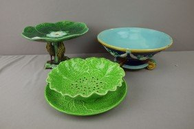 Majolica Lot Of 3 Items - Cobalt Footed Bowl (hair
