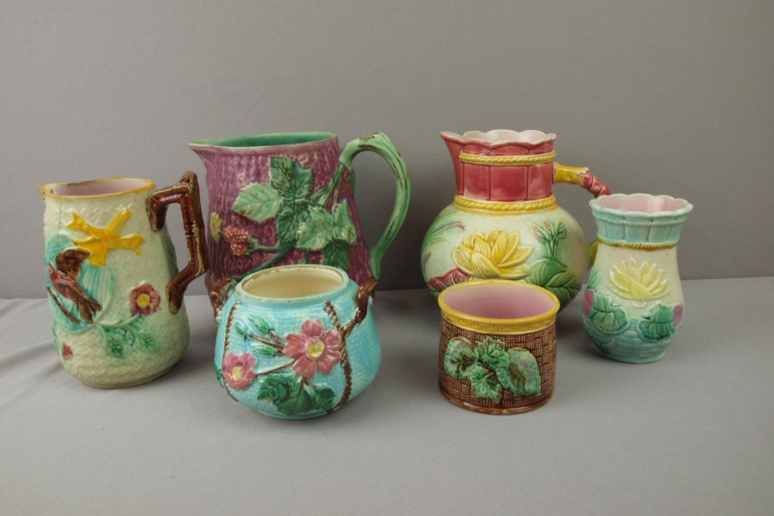 60:  Majolica lot of 6 items - 3 pitchers, spooner, sug
