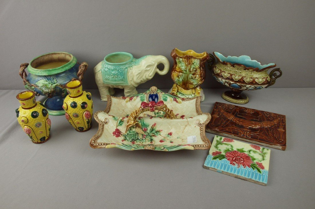62:  Majolica lot of 9 assorted items - vases, tiles, p