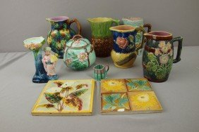 Majolica Lot Of 10 Items - 5 Pitchers, Sugar, Vase