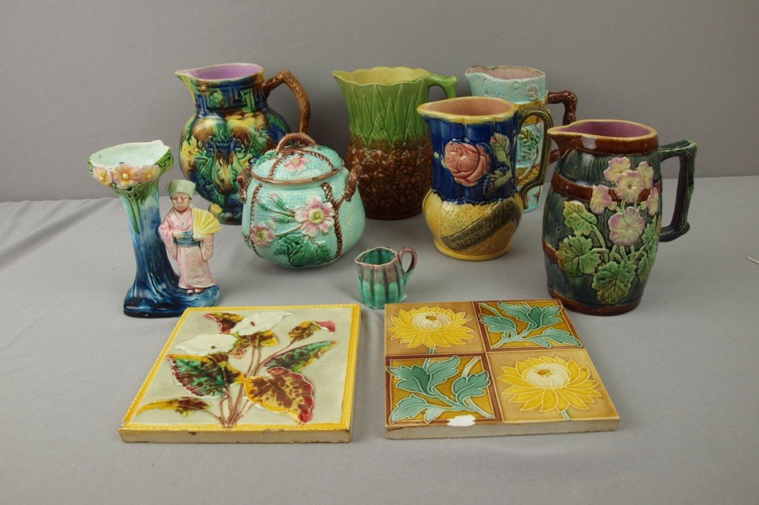 63:  Majolica lot of 10 items - 5 pitchers, sugar, vase